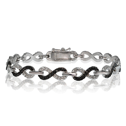 Black Diamond Accent Infinity Bracelet in Silver Tone