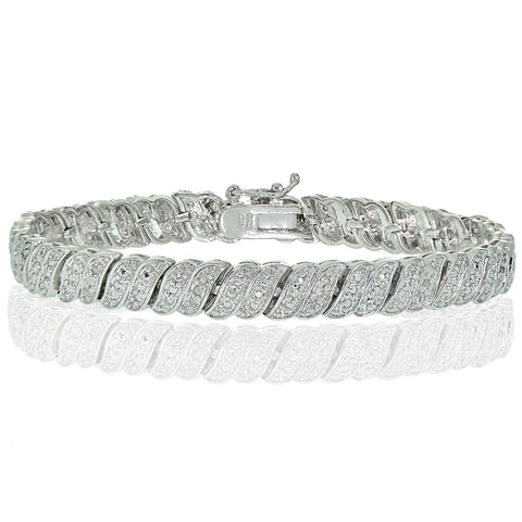 Silver Tone 0.25ct Diamond Wave Link Tennis Bracelet