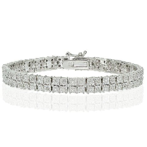 Silver Tone 0.25ct Diamond Miracle Set 2-Row Tennis Bracelet