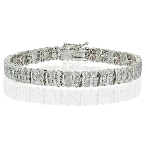 Silver Tone 0.25ct Diamond S Pattern Tennis Bracelet