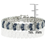 1 ct Blue and White Diamond Miracle Set Chevron Tennis Bracelet