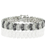 1 ct Black and White Diamond Miracle Set Chevron Tennis Bracelet