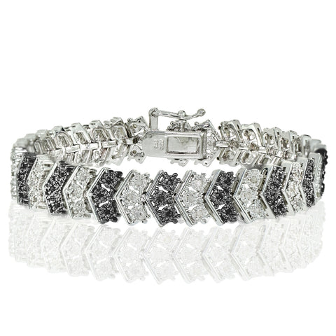 1.00ct Black and White Diamond Miracle Set Chevron Tennis Bracelet