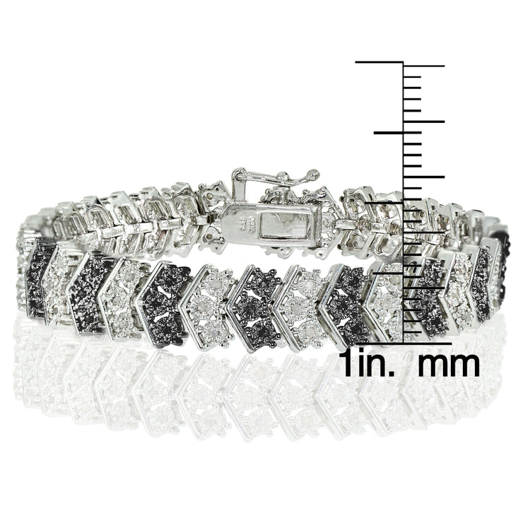 1 Carat Black and White Diamond Miracle Set Chevron Tennis Bracelet