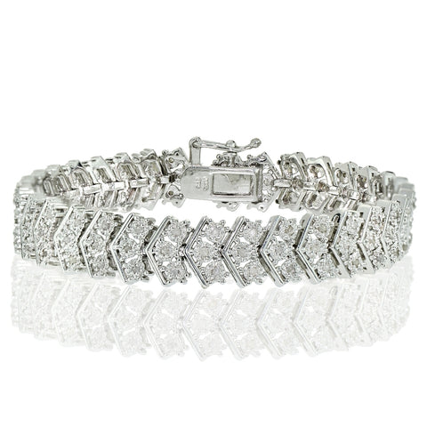 1.00ct Diamond Miracle Set Chevron Tennis Bracelet