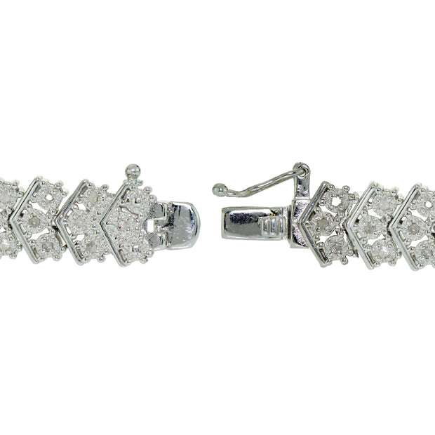 1 ct Diamond Miracle Set Chevron Tennis Bracelet