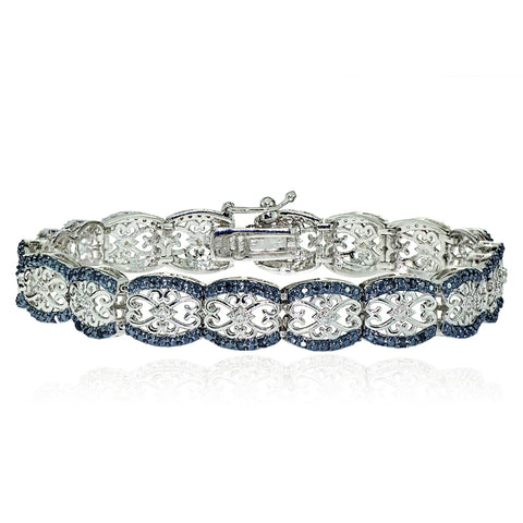 Silver Tone 0.25ct Black Diamond Filigree Tennis Bracelet
