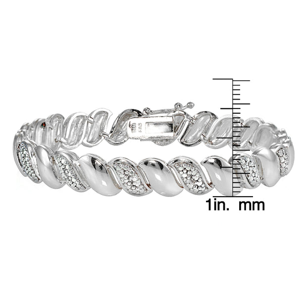 Genuine Natural Diamond Accent San Marco Tennis Bracelet in Silver Tone
