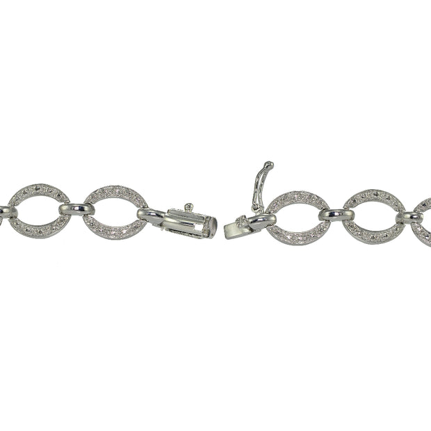Genuine Diamond Accent Circle and Bar Tennis Bracelet in Silver Tone