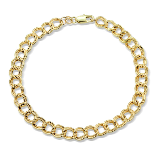 Gold Tone Chain Link Charm Bracelet, 8 inches