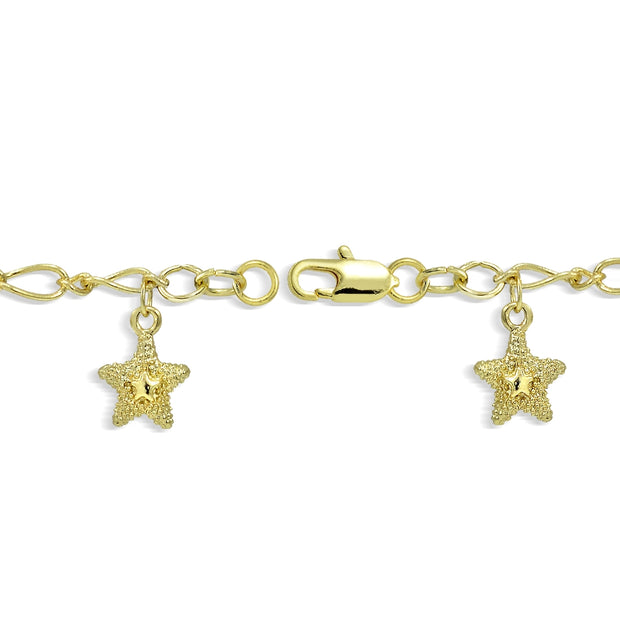 Gold Tone Star Dangle Charm Bracelet 7.5 inches