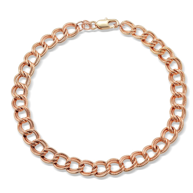 Rose Gold Tone Chain Link Charm Bracelet, 7.5 inches