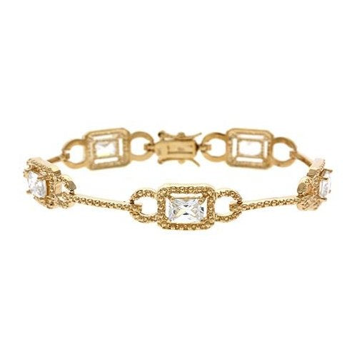 18K Gold over Sterling Silver CZ Link & Bar Bracelet