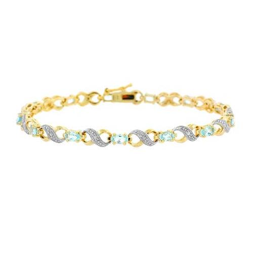 18K Gold over Sterling Silver Blue Topaz & Diamond Accent Infinity Bracelet