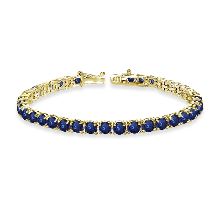 Yellow Gold Flashed Sterling Silver 4mm Created Blue Sapphire Round-cut Tennis Bracelet