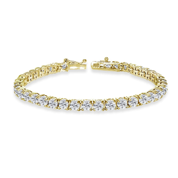Yellow Gold Flashed Sterling Silver 4mm Created White Sapphire Round-cut Tennis Bracelet