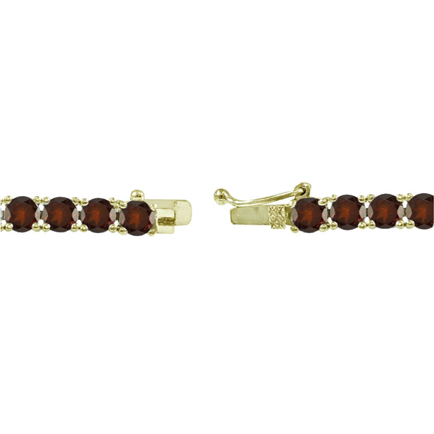 Yellow Gold Flashed Sterling Silver 4mm Garnet Round-cut Tennis Bracelet