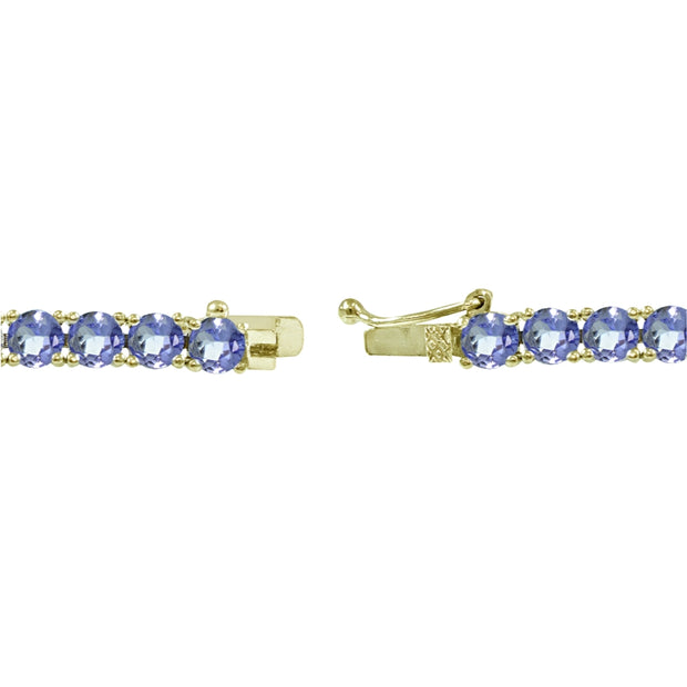 Yellow Gold Flashed Sterling Silver 4mm Tanzanite Round-cut Tennis Bracelet
