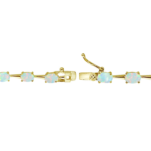 Yellow Gold Flashed Sterling Silver Simulated White Opal 6x4mm Oval Classic Link Tennis Bracelet