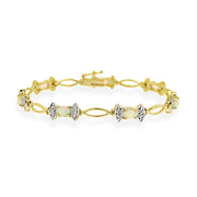 18K Gold Over Sterling Silver Created Opal & Diamond Accent Bow Bracelet