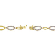 18K Gold over Sterling Silver Diamond Accent Marquise Link Bracelet