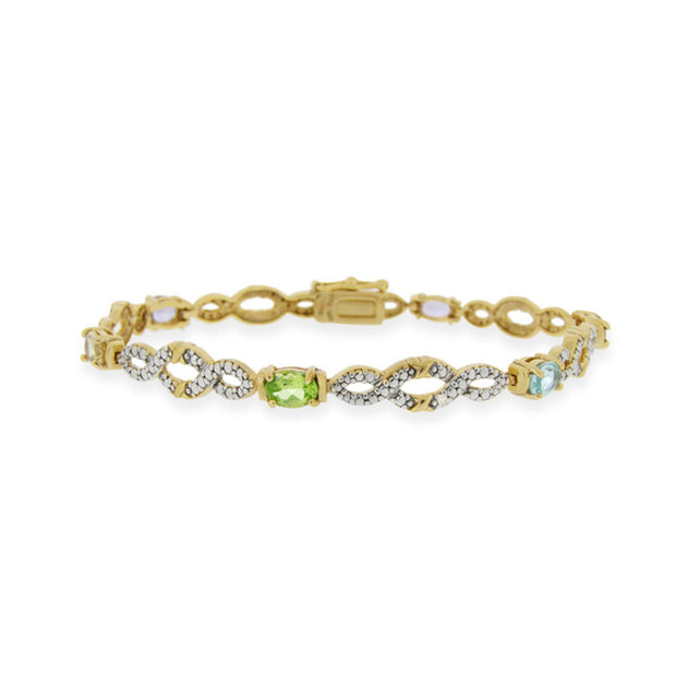 18K over Sterling Silver Multi Gemstone & Diamond Accent Infinity Bracelet