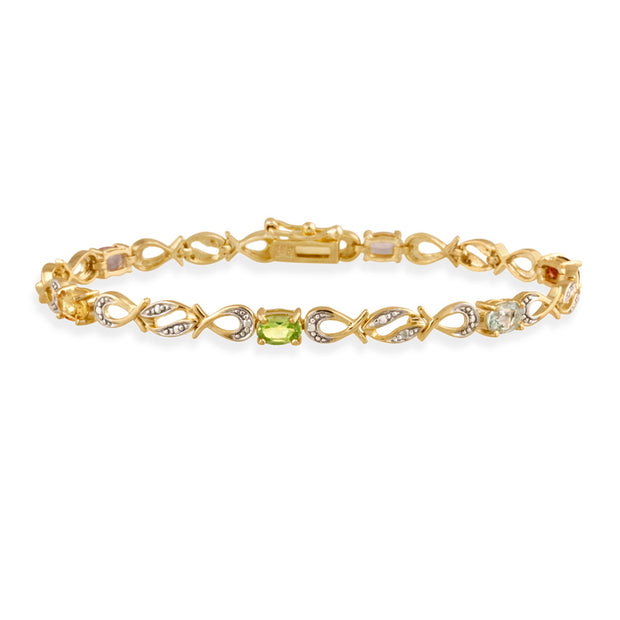 18K Gold over Sterling Silver Multi Gemstone & Diamond Accent Swirl Infinity Bracelet