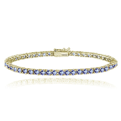Yellow Gold Flashed Sterling Silver 5.5ct Tanzanite 3mm Round Tennis Bracelet