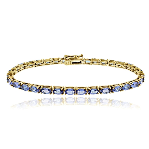 Yellow Gold Flashed Sterling Silver 7.6ct Tanzanite 5x3mm Oval Tennis Bracelet