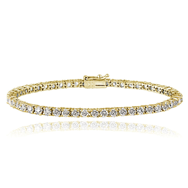 Gold Tone over Sterling Silver 100 Facets Cubic Zirconia Tennis Bracelet (3ct tdw)