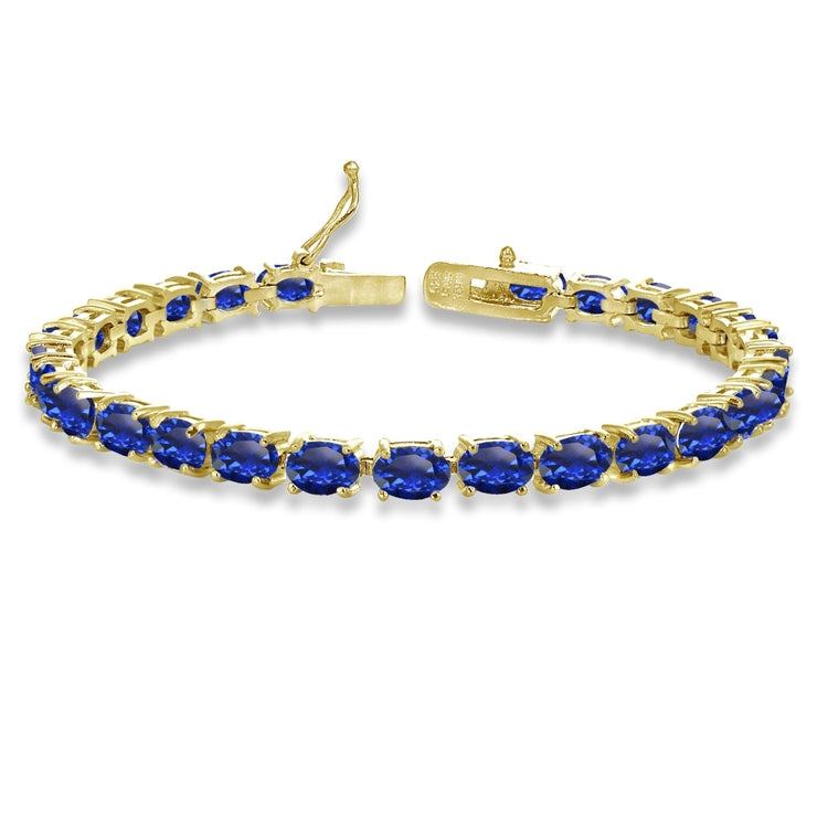 Yellow Gold Flashed Sterling Silver 6X4mm Created Blue Sapphire Oval-cut Tennis Bracelet
