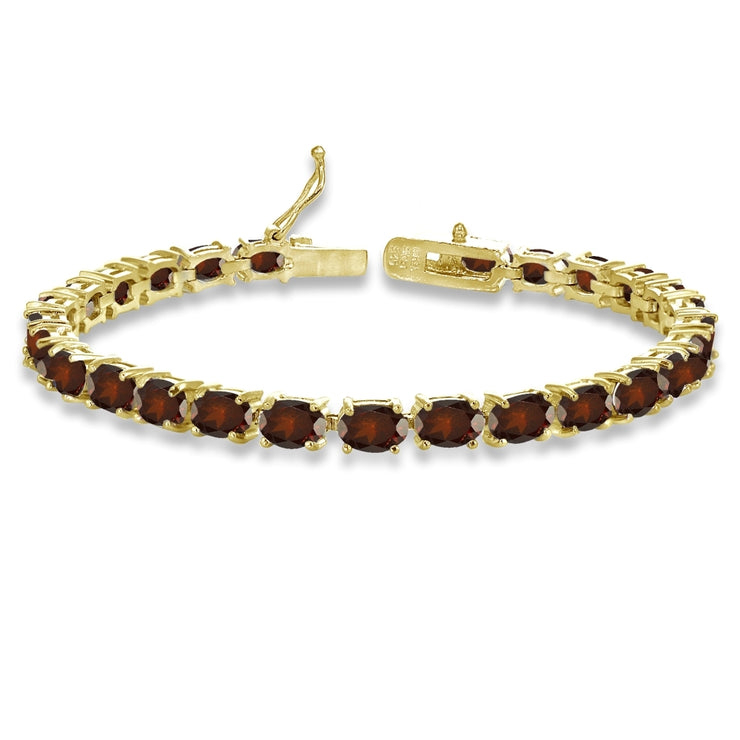 Yellow Gold Flashed Sterling Silver 6X4mm Garnet Oval-cut Tennis Bracelet
