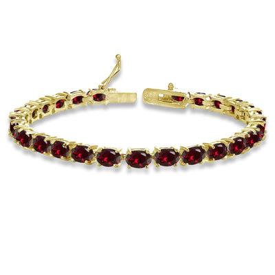 Yellow Gold Plated Sterling Silver 6X4mm Created Ruby Oval-cut Tennis Bracelet