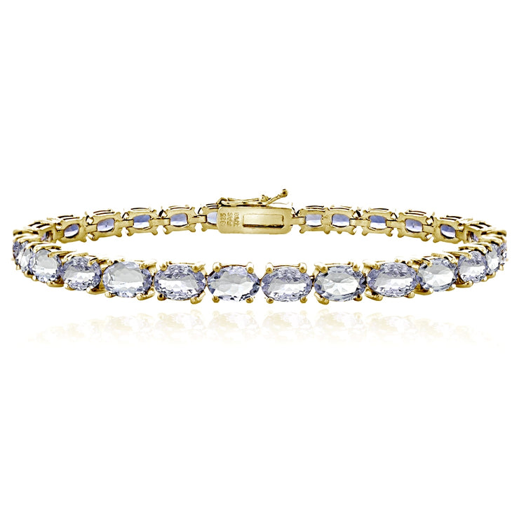 Yellow Gold Flashed Sterling Silver 10ct Tanzanite 6x4mm Oval Tennis Bracelet