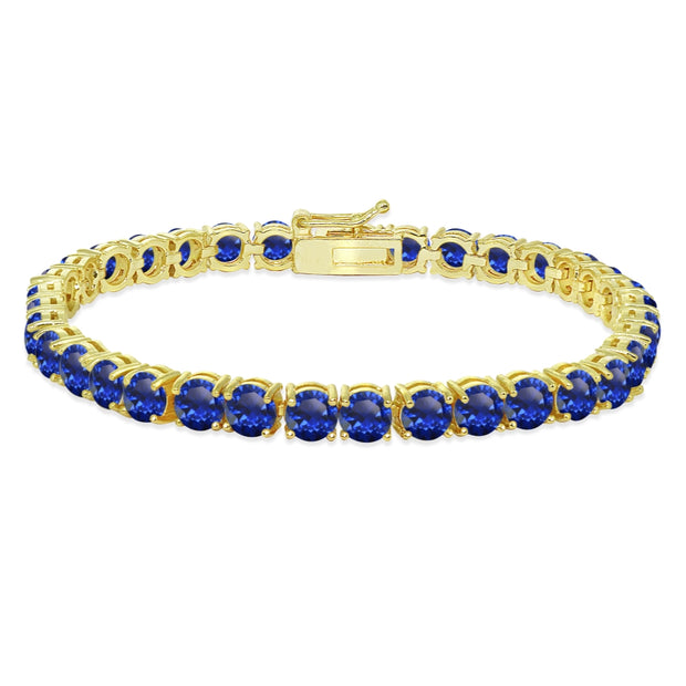 Yellow Gold Flashed Sterling Silver 5mm Created Blue Sapphire Round-cut Tennis Bracelet