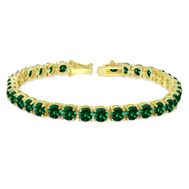 Yellow Gold Flashed Sterling Silver 5mm Created Emerald Round-cut Tennis Bracelet