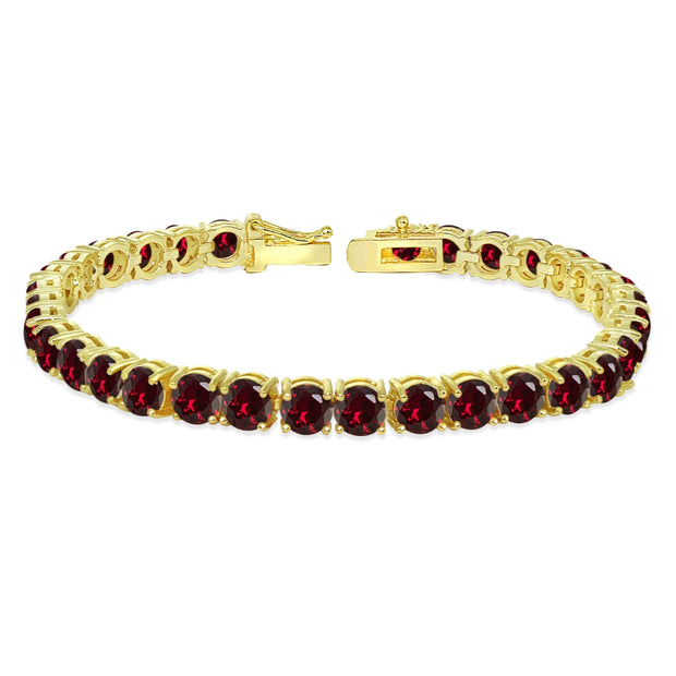 Yellow Gold Flashed Sterling Silver 5mm Created Ruby Round-cut Tennis Bracelet