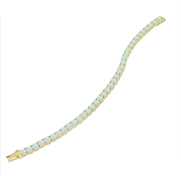 Yellow Gold Flashed Sterling Silver 5mm Created White Opal Round-cut Tennis Bracelet