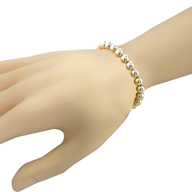 Gold Tone over Sterling Silver Bead Adjustable Bracelet