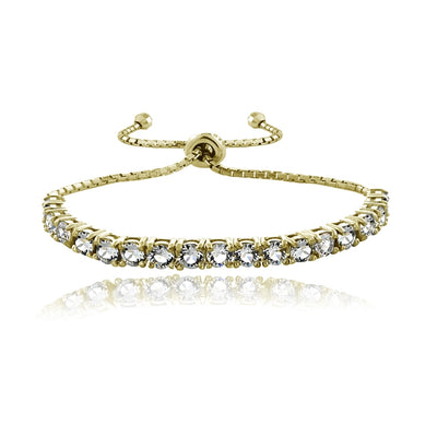18K Gold over Sterling Silver Swarovski Elements Adjustable Bracelet