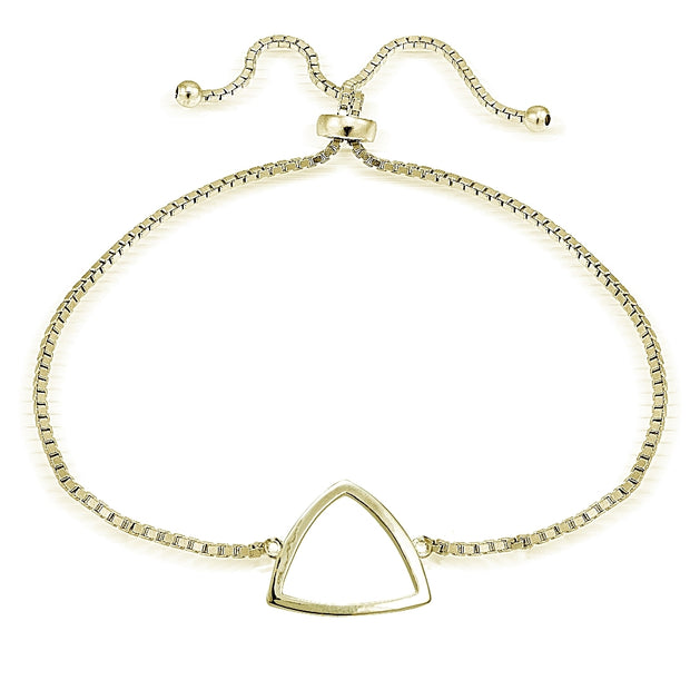 Gold Tone over Sterling Silver Fancy Triangle Polished Adjustable Bracelet