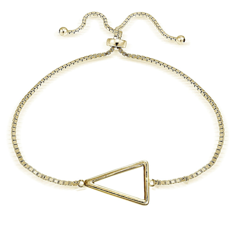 Gold Tone over Sterling Silver Triangle Polished Adjustable Bracelet