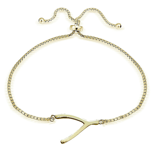 Gold Tone over Sterling Silver Wishbone Polished Adjustable Bracelet