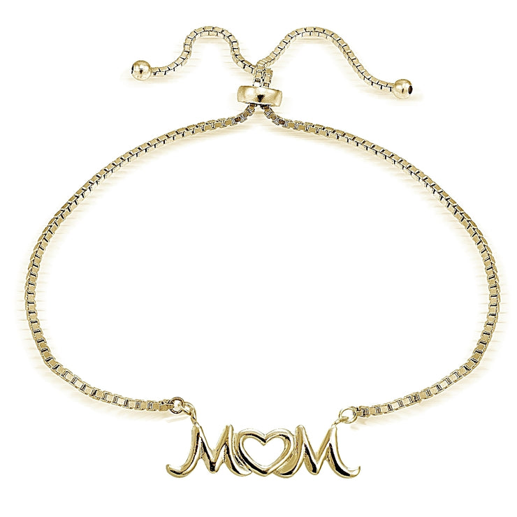 Gold Tone over Sterling Silver MOM Open Heart Polished Adjustable Bracelet