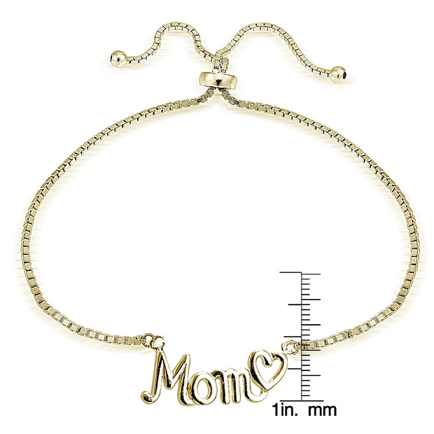 Gold Tone over Sterling Silver MOM & Heart Polished Adjustable Bracelet