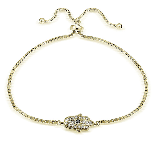 Gold Tone over Sterling Silver Cubic Zirconia Hamsa Hand Adjustable Bracelet