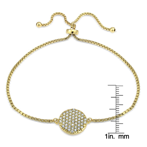Gold Tone over Sterling Silver Cubic Zirconia Circle Charm Adjustable Bracelet