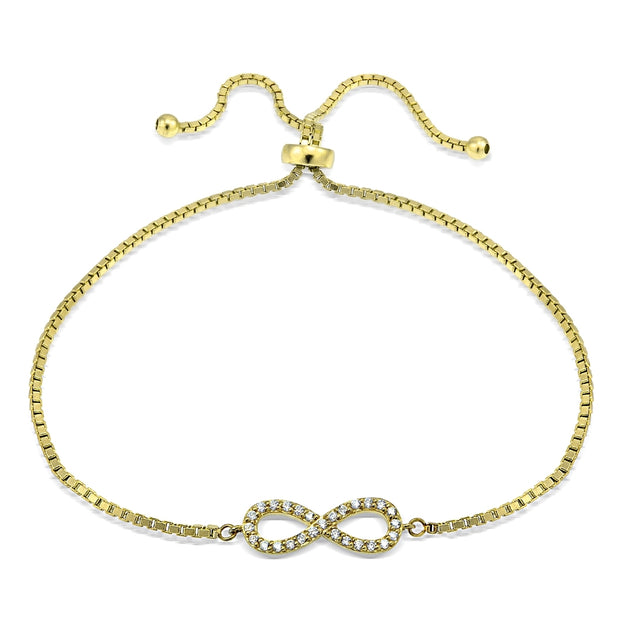 Yellow Gold Flashed Silver Cubic Zirconia Infinity Adjustable Bracelet