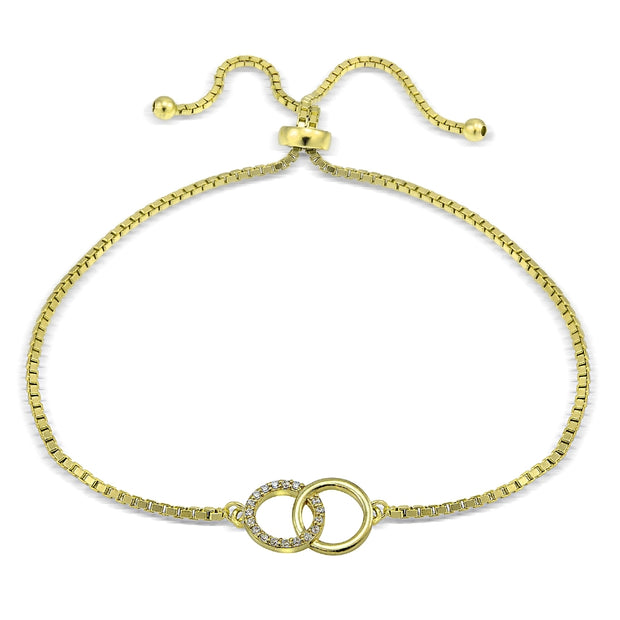 Gold Tone over Sterling Silver Cubic Zirconia Interlocking Circles Adjustable Bracelet