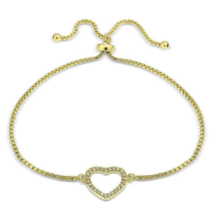 Gold Tone over Sterling Silver Cubic Zirconia Open Heart Adjustable Bracelet